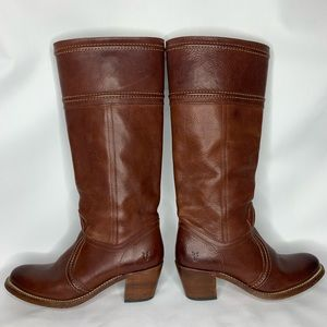 Frye Campus Jane brown riding boots, wide calf